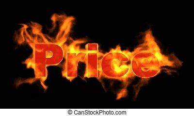 tekst, gorący, płonący, cena, sale.