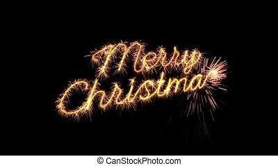 tekst, groet, loopable, animatie, vrolijk, jaar, sparkler, nieuw, kerstmis