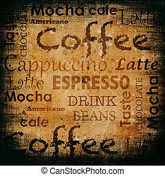 tekst, grunge, tło, coffe