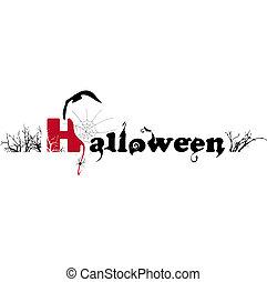 tekst, halloween, illustratie, vrijstaand, vector, ...