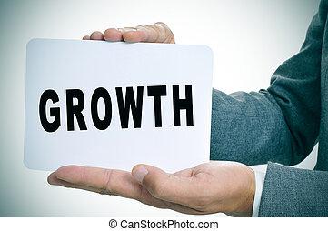 tekst, het tonen, groei, signboard, zakenman