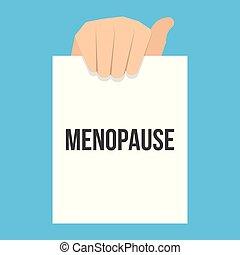 tekst, het tonen, papier, menopause, man