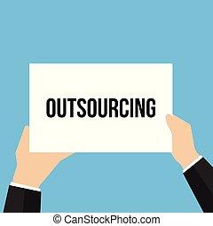 tekst, het tonen, papier, outsourcing, man