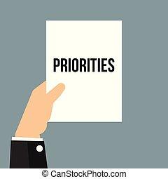 tekst, het tonen, papier, priorities, man
