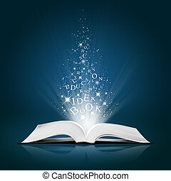 tekst, idea, na, otwarty, biały, książka