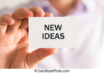 tekst, ideeën, vasthouden, nieuw, zakenman, kaart