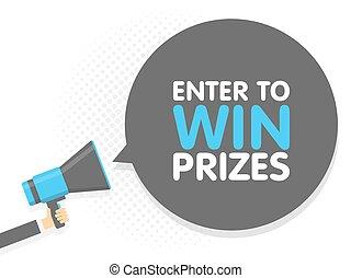 tekst, illustratie, meldingsbord, prizes., megaphone., vector, toespraak, vasthouden, binnengaan, hand, winnen