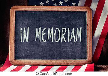 tekst, ind, memoriam, og, de forenede stater flag