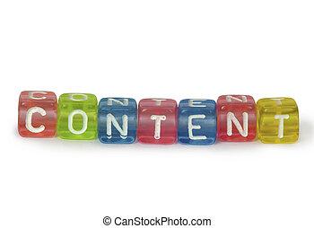 tekst, inhoud, op, kleurrijke, houten, blokje