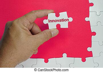 tekst, innovatie, -, zakenbegrip