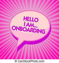 tekst, intention., meldingsbord, boodschap, scheeps , stralen, paarse , onboarding., foto, conceptueel, toespraak, u, bel, het tonen, am..., schaaf, het vertellen, schaduw, herinnering, of, persoon, belangrijk, hallo