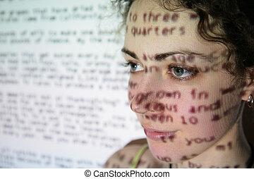 tekst, is, geprojekteerd, op, gezicht, van, vrouw