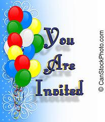 tekst, jarig, ballons, uitnodiging
