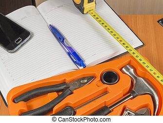 tekst, jouw, plek, gereedschap, set, notebook.