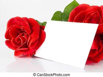 tekst, karta, tło, róże, dar, dwa, czysty, czerwony biel