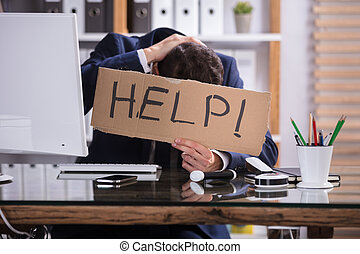 tekst, karton, helpen, vasthouden, zakenman