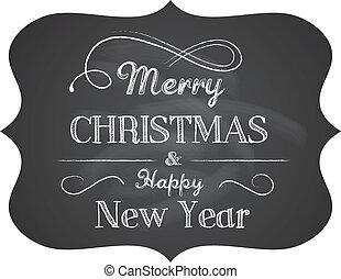 tekst, kerstmis, chalkboard, achtergrond, elegant