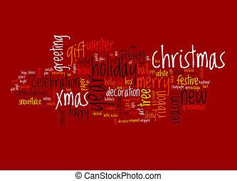 tekst, kerstmis, wolk