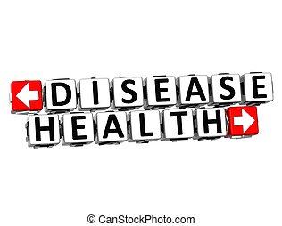 tekst, knap, disease, her, sundhed, falde i hak, blokken, 3