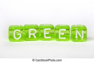 tekst, kostki, zielony, barwny