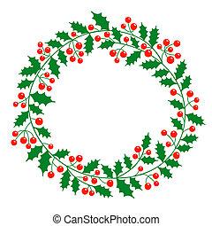 tekst, krans, plek, jouw, kerstmis