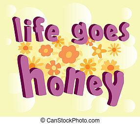 tekst, leven, gaat, honing, 3d