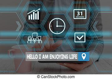 tekst, life., levensstijl, slijtage, device., schrijvende , vrolijke , werken, gebruik, formeel, het voorstellen, ontspannen, kostuum, presentatie, het genieten van, spullen, smart, hallo, woord, genieten, zakenmens , eenvoudig, concept