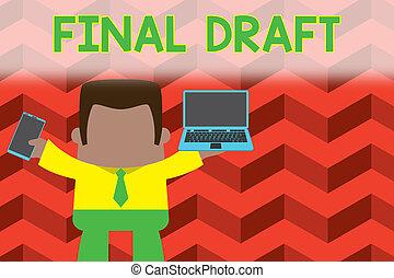 tekst, links, staand, partij, man, vastknopen, concept, beweeglijk, professioneel, rewriting, versie, na, iets, open laptop, zakelijk, vasthouden, schrijvende , draft., woord, opmaak, telefoon., eind-, rechts