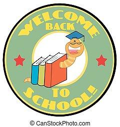tekst, mascot-bookworm