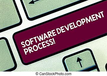 tekst, meldingsbord, het tonen, software, ontwikkeling, process., conceptueel, foto, proces, van, ontwikkelen, een, software, product, toetsenbord, klee, intention, te creëren, computer boodschap, dringend, toetsenpaneel, idea.