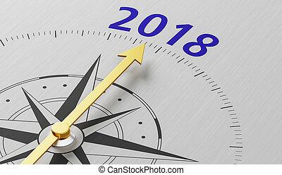 tekst, naald, 2018, wijzende, kompas