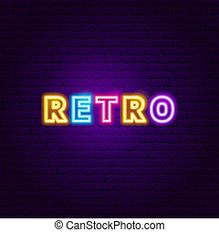 tekst, neon, retro, etiket