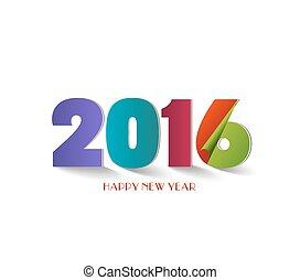 tekst, ontwerp, jaar, nieuw, 2016, vrolijke
