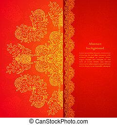 tekst, ornament, plek, achtergrond, jouw, rood