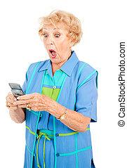 tekst, oude vrouw, -, ergerlijk