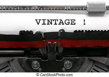 tekst, ouderwetse , geschreven, door, een, oud, typemachine
