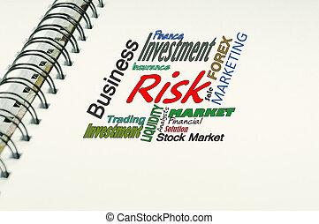 tekst, pojęcie, -, ryzyko, handlowy