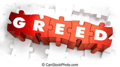tekst, puzzles., -, rood, hebzucht
