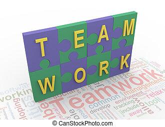 tekst, raadsel, peaces, 'teamwork', 3d