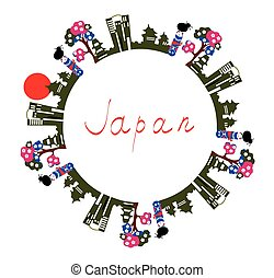 tekst, ramme, -, symboler, baggrund, japan, card