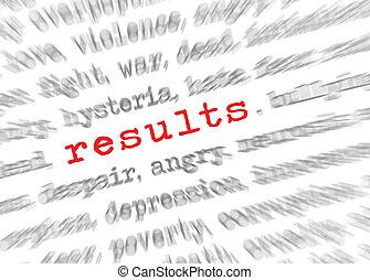tekst, resultaten, effect, zoom, blured, brandpunt