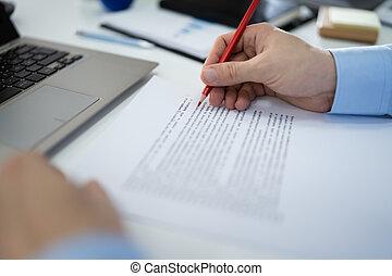 tekst, rood, fout, spellchecking, potlood, tekening, gedurende
