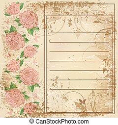 tekst, rozen, papier, oud, ruimte