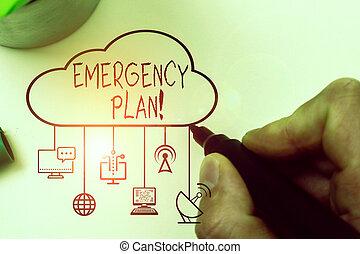 tekst, schrijvende , acties, hand, potentieel, plan., foto, beschadigen, conceptueel, noodgeval, het tonen, ontwikkelde, events., zakelijk, mitigate
