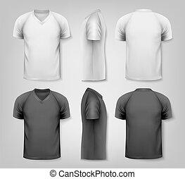 tekst, space., udsnit, vector., v-neck, t-shirts