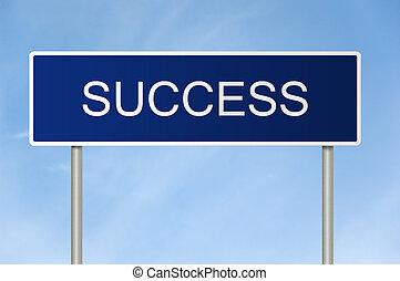 tekst, straat, succes, meldingsbord