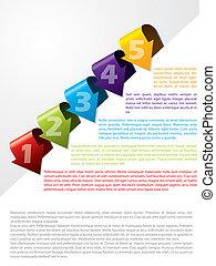 tekst, szablon, reklama, strzała, mający kształt