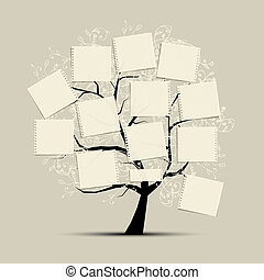 tekst, sztuka, twój, drzewo, papiery