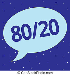 tekst, tegn, viser, 80, 20., begrebsmæssig, fotografi, pareto, grundprincip, i, factor, sparsity, statistisk, distribution, i, data