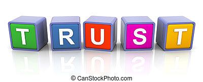 tekst, 'trust', barwny, 3d
